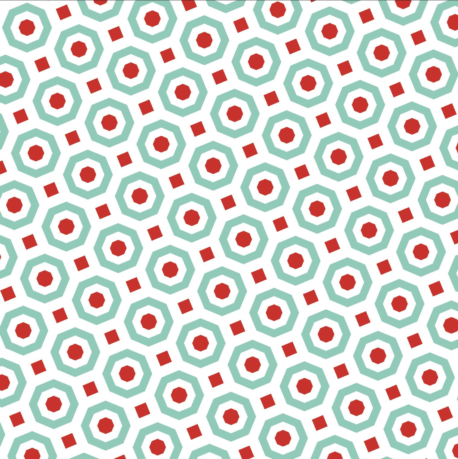 pattern rosso e verde acqua